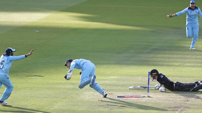There were the 'uncontrollables' like the Martin Guptill overthrow which hit a lunging Ben Stokes' bat and went for six overthrows in the 50th over of the England innings. (Photo: AP/PTI)