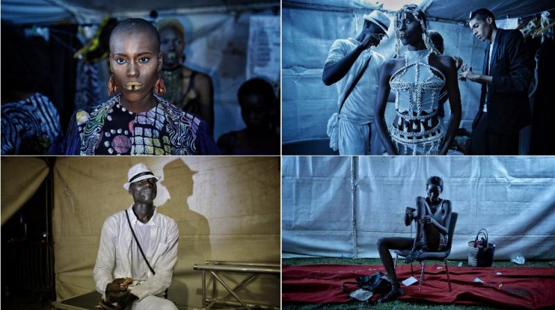 Moments from behind the stage at the Dakar Fashion Week (Photo: AP)