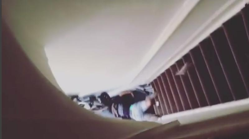 Video footage shows Sibahle 'Steve' Nkumbi lying at the end of the stairs (Photo: Instagram)