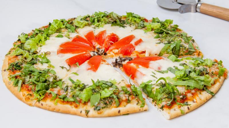 A slice of cheese pizza contain an estimated 272 calories, 12 grams of protein, 10 grams of fat, and 4 grams of sugar.