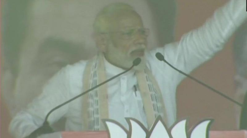Prime Minister Narendra Modi on Friday said opposition leaders are in a race to support Pakistan on the issue of military operations against terror camps in the neighbouring country. (Photo: Twitter/ANI)