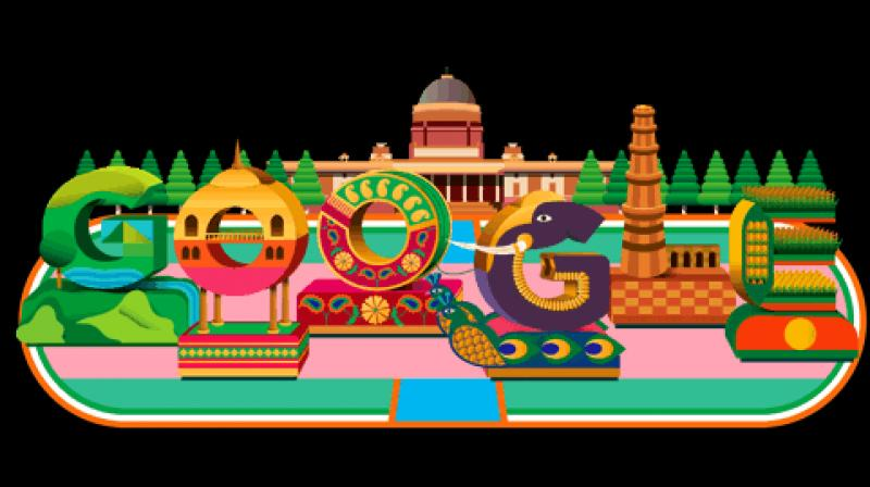 The doodle with a 3D impression depicts the iconic facade of the grand Rashtrapati Bhavan in the backdrop, flanked by trees, reflecting the flora and fauna that resides on its sprawling campus