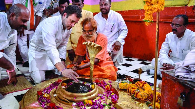 Congress president Rahul Gandhi offers prayers at Tilbhandeshwar Mahadev temple ahead of an election rally in Tarana, Madhya Pradesh, on Tuesday.  (Photo: PTI)
