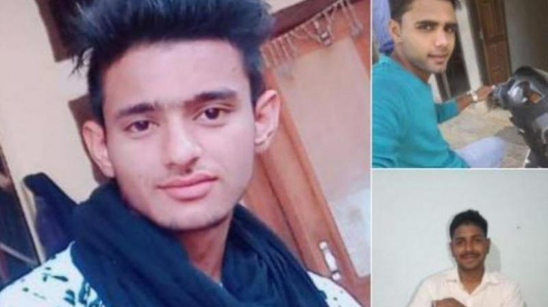 All three accused -- Manish (left), Nishu (top right) and Pankaj - an Army personnel (bottom right) -- are from a village in Rewari district. (Photo: Twitter | ANI)