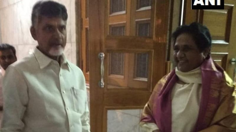Naidu met the former Uttar Pradesh CM on Saturday evening along with Andhra Pradesh Finance Minister Y Ramakrishnudu and some TDP MPs. (Photo: Twitter | @ANI)