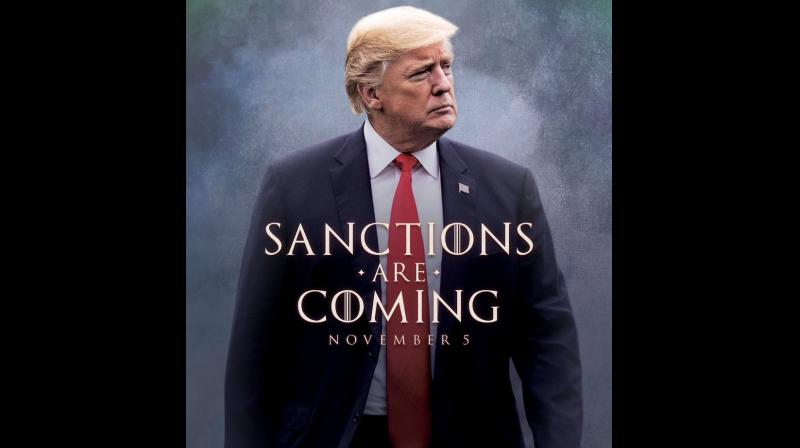 'SANCTIONS ARE COMING,' reads the mock movie poster. Each 'O' is crossed by vertical lines, like in the 'Game of Thrones' logo and the words are superimposed on a picture of the president striding out of a foggy background. (Photo: Twitter | @realDonaldTrump)