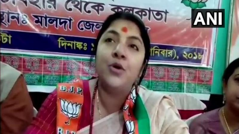 She alleged that women were being harassed by Trinamool Congress (TMC) workers in the state and they were not able to venture out freely. (Photo: ANI)