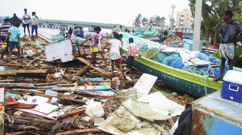 A view of the damage caused by cyclone 'Gaja', after it hit Velankanni, in Nagapattinam district of Tamil Nadu, Friday, November 16, 2018. (Photo: PTI)