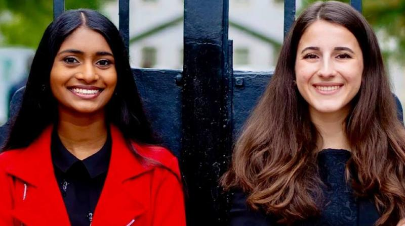 Palaniappan (L) said she and Huesa (R) planned to work on improving the Council's communication with the student body in their initial days in office. (Photo: Facebook | Sruthi Palaniappan)