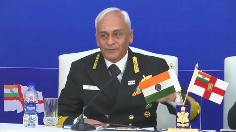 He also assured the country that the Navy is keeping round-the-clock vigil on India's maritime domain.(Photo: Twitter | @ANI)