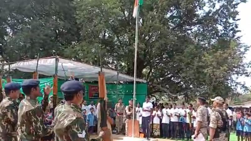 Flag Hoisting at Bastar village