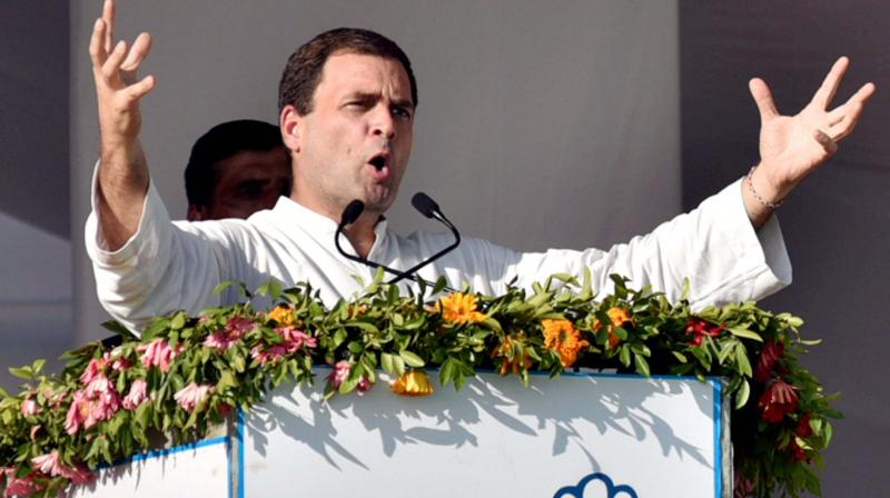 Congress Vice-President Rahul Gandhi addresses a public rally in Mehsana. (Photo: PTI)