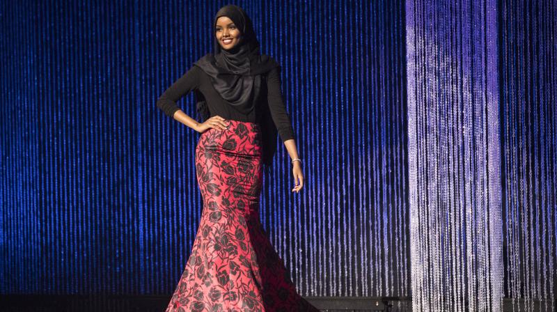 Halima Aden wears a hijab and gown while competing in the preliminary round of the Miss Minnesota USA pageant at the Ames Center in Burnsville on Saturday. (Photo: AP)