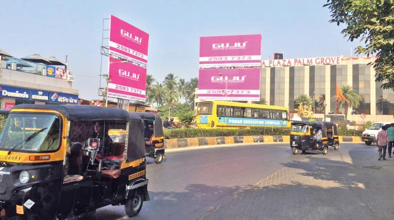Hoardings displayed outside Palm Grove hotel in Juhu.