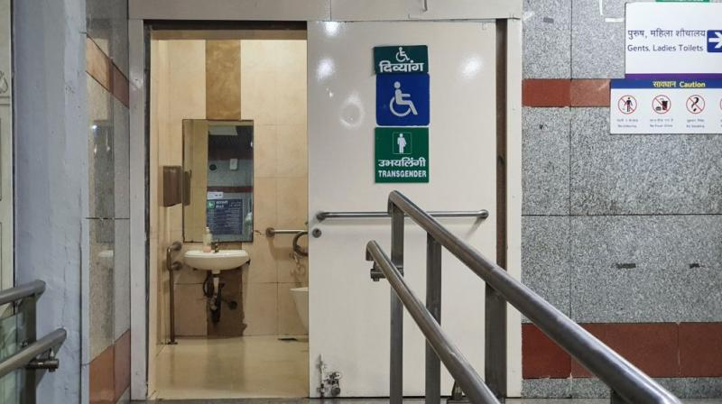 To guide transgenders to these toilets, bilingual signs (English and Hindi both), along with symbols for both categories -- 'Persons with Disability' and 'Transgenders' -- have been installed adjacent to these toilets. (Twitter)