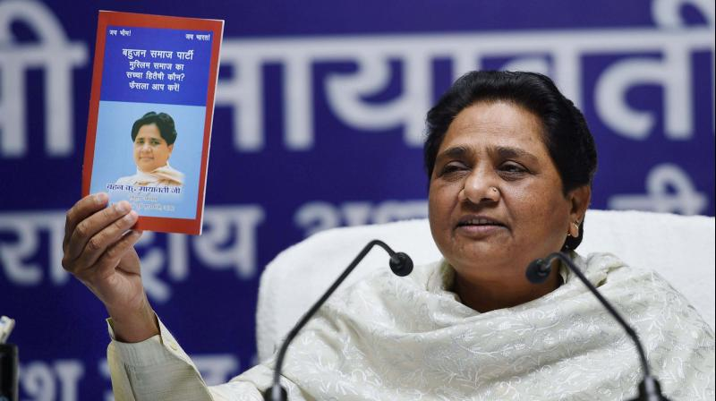 BSP supremo Mayawati at a press conference at the party office in Lucknow. (Photo: PTI)