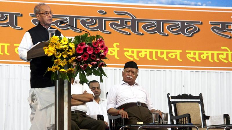 Former President Pranab Mukherjee speaks at RSS event in Nagpur. (Photo: PTI)