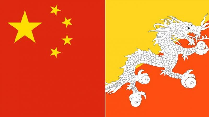 China and Bhutan flags