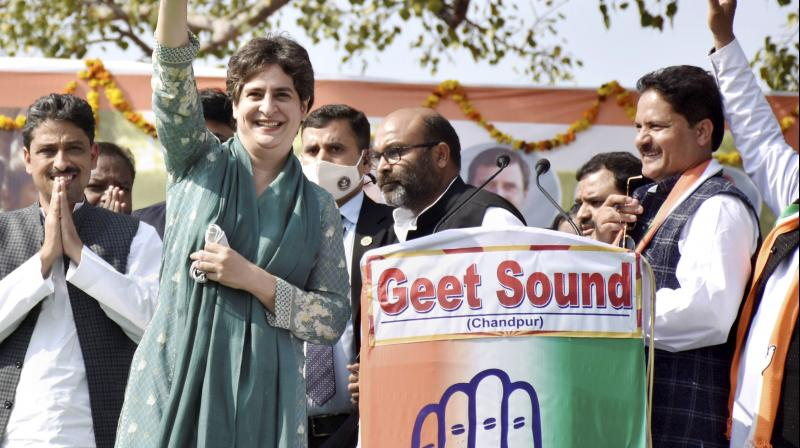 Congress National General Secretary Priyanka Gandhi during a 'Kisan Mahapanchayat' in support of farmers agitation against the three farm laws, at Chandganj in Bijnor district on Feb. 15, 2021. (PTI)