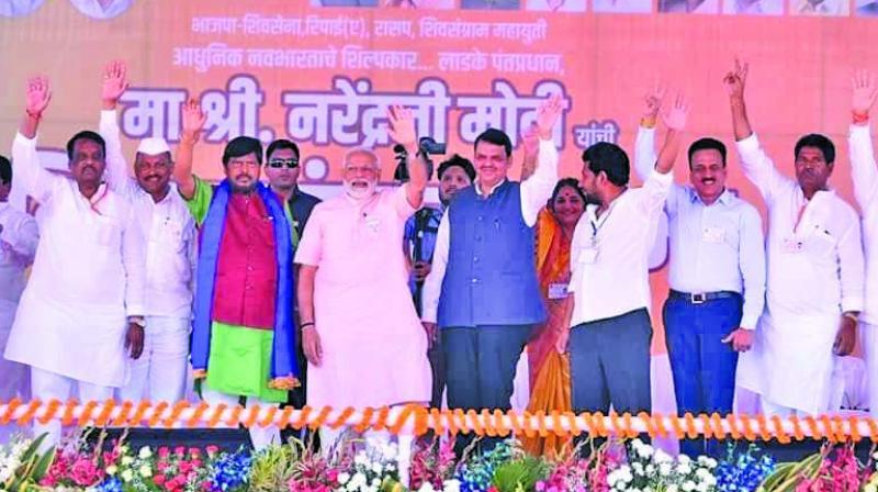 Prime Minister Narendra Modi was seen with CM Devendra Fadnavis at the Ahmednagar rally on Friday. (Photo: RAJESH JADHAV)