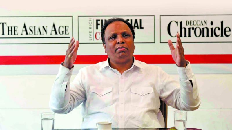 MLA Ashish Shelar held a discussion at the Mumbai office of The Asian Age on Friday. (Photo: RJ)