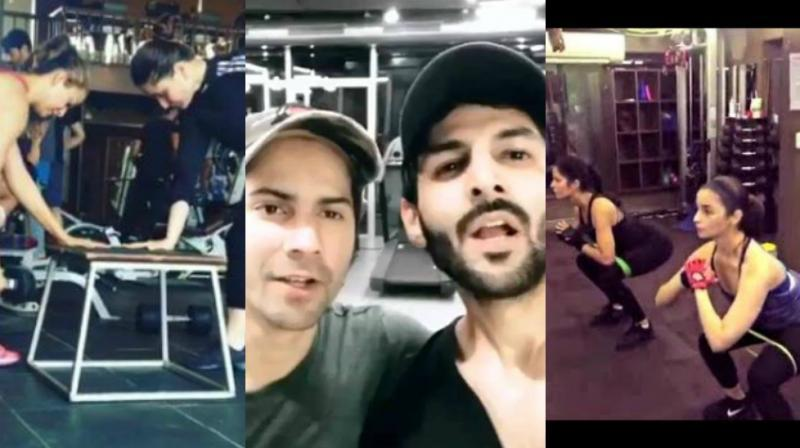 Bollywood stars working out.