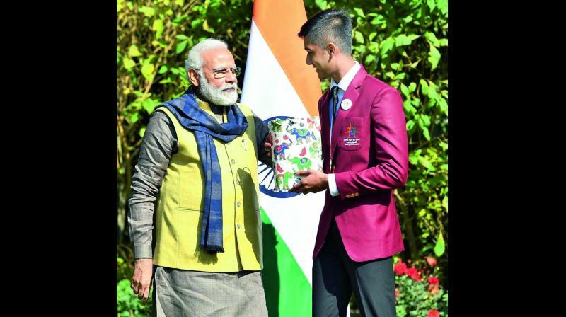 Yash Aradhya with Prime Minister Narendra Modi