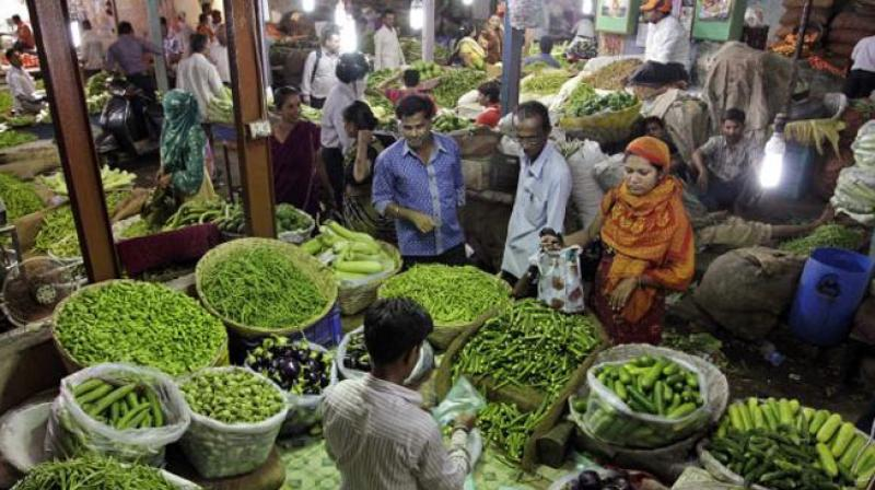 Retail inflation cooled to an 11-month low of 3.69 per cent in August mainly due to a fall in prices of kitchen items, including fruits and vegetables, official data showed on Wednesday. (Photo: AP)