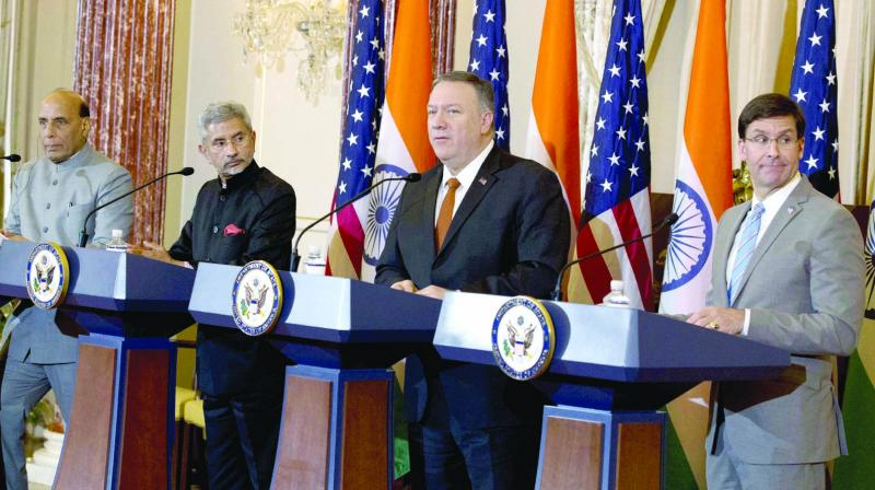 Defence minister Rajnath Singh, external affairs minister S. Jaishankar, United States secretary of state Mike Pompeo and secretary of defence Mark Esper during a press conference after a bilateral meeting between US and India at the department of state in Washington on Wednesday. (Photo: PTI)