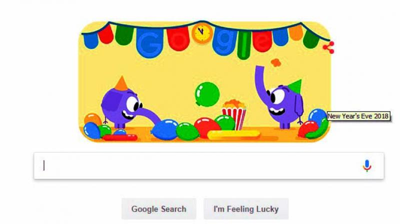 Google in years past has created New Year's Eve Doodles that feature birds, but this year the search giant chooses baby elephants to welcome 2019.
