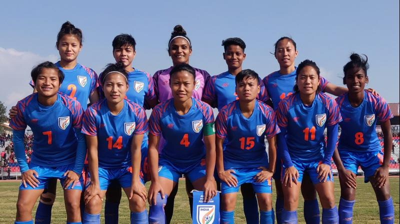 The Indian Women's Football Team thrashed Sri Lanka 6-0 in the ongoing South Asian Games 2019 here on Thursday. (Photo: Twitter)
