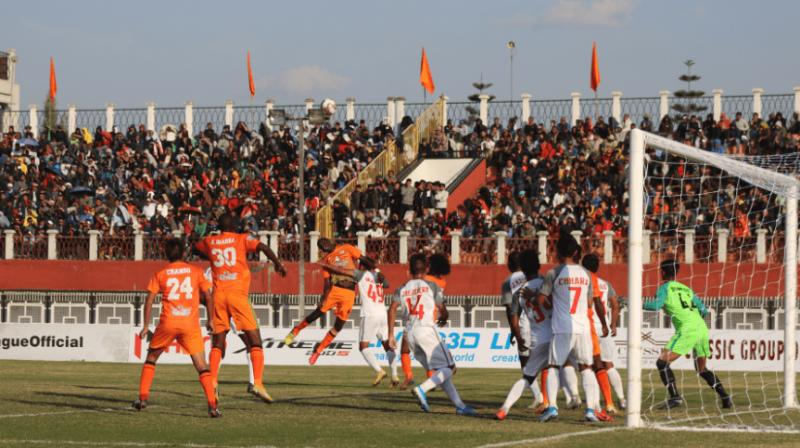 Neroca FC registered their first win of this I-League season by beating former champions Aizawl FC 1-0 at the Khuman Lampak ground here on Friday. (Photo: Twitter)