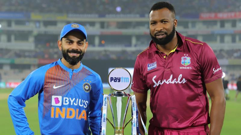 India skipper Virat Kohli won the toss and opted to field against the West Indies in the first T20I here on Friday. (Photo: Twitter/ BCCI)