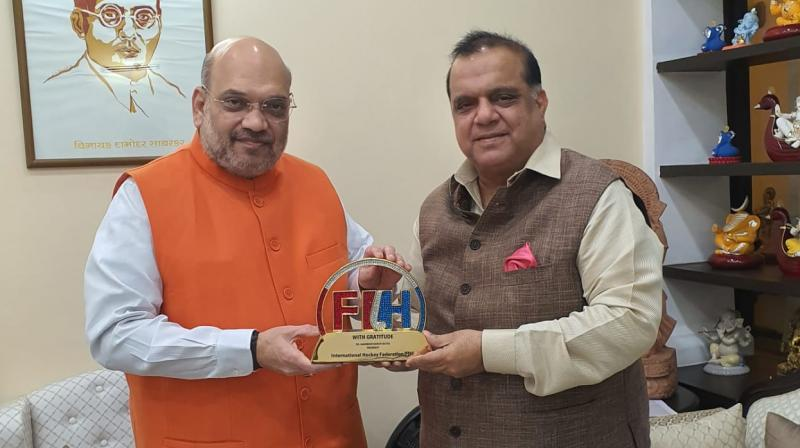 Indian Olympics Association (IOA) president Narinder Dhruv Batra on Monday met Home Minister Amit Shah and updated him on India's preparation for the next year's Tokyo Olympics. (Photo: Twitter/ Hockey India)
