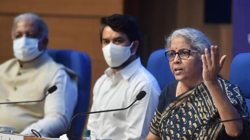 Union Finance Minister Nirmala Sitharaman speaks during a press conference after chairing the 44th GST Council meeting via video conferencing, in New Delhi, Saturday, June 12, 2021. (Photo:PTI)