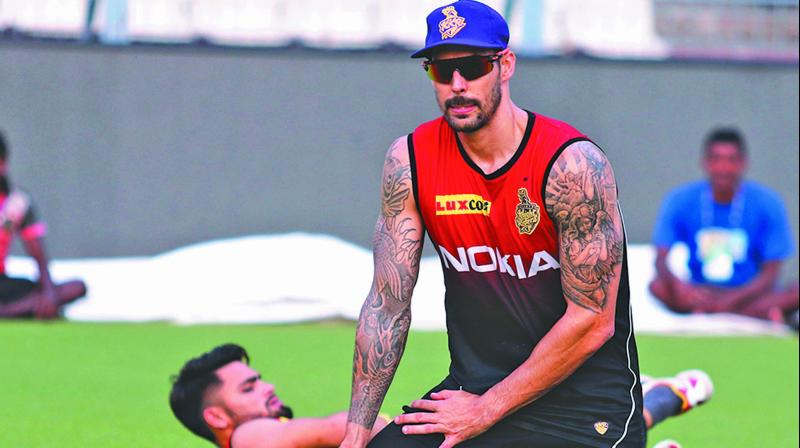 KKR pacer Mitchell Johnson at a training session on Wednesday. (Photo: Twitter)