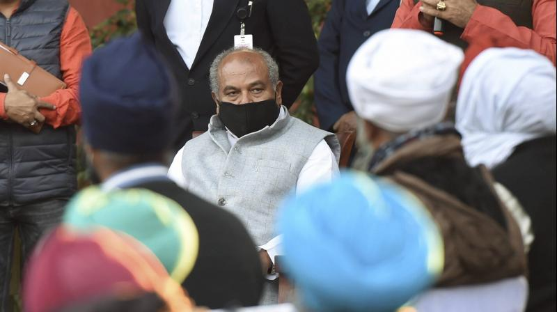 Union Agriculture Minister Narendra Singh Tomar speaks to farmers from Uttarakhand on the Centre's farm reform laws, in New Delhi, Sunday, Dec. 13, 2020. (PTI)