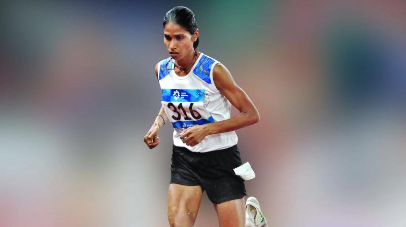 Sudha Singh won the silver in the 3000m steeplechase event on Monday. (Photo:AP)