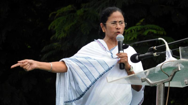 Chief minister Mamata Banerjee addresses the TMC Chhatra Parisad foundation day rally at Mayo Road in Kolkata on Tuesday. (Photo:Asian Age)