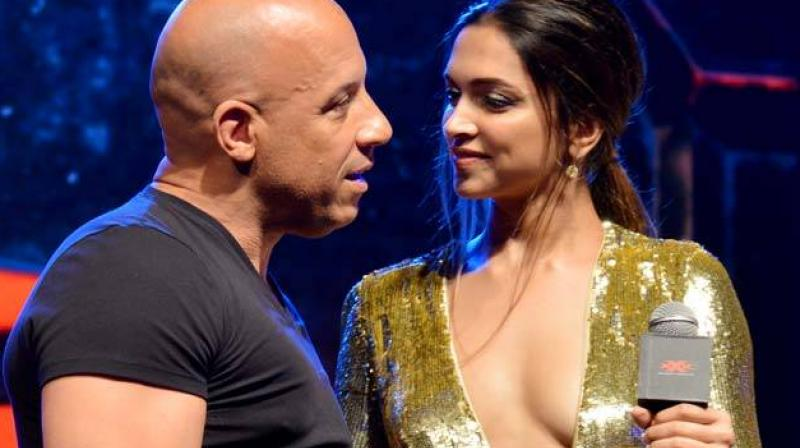 Vin Diesel and Deepika Padukone in Mumbai during 'xXx: Return of Xander Cage' promotions.