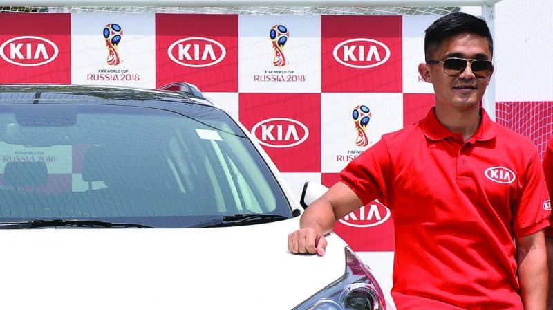 Football captain Sunil Chhetri at a promotional event in Gurugram on Sunday.