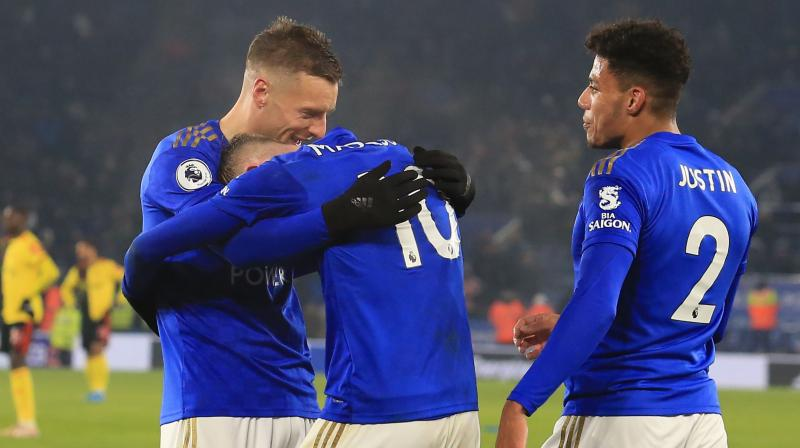 Jamie Vardy and James Maddison scoring after the break to lift Brendan Rodgers's side three points above champions Manchester City. ( Photo: AFP)