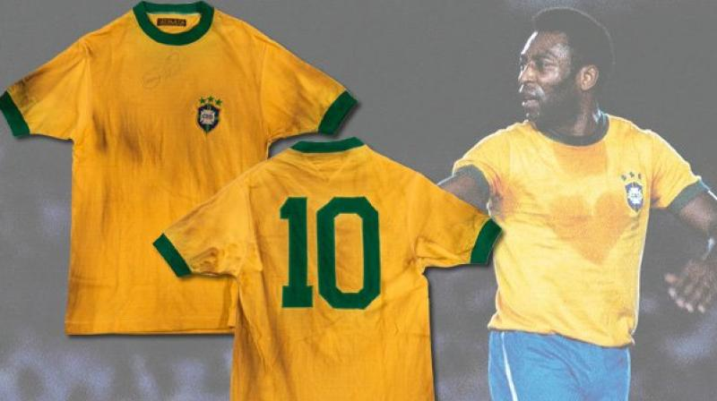 The jersey worn by Brazilian football legend Pele during his final match for the five-time world champions has sold for 30,000 euros (USD33,000) in an auction in Italy. ( Photo:Twitter)