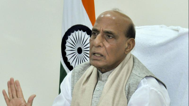 Defence Minister Rajnath Singh delivers address on 'National Security' as part of late Balramji Das Tandon lecture series, via video conferencing, in New Delhi, Monday, August 30, 2021. (PTI Photo)