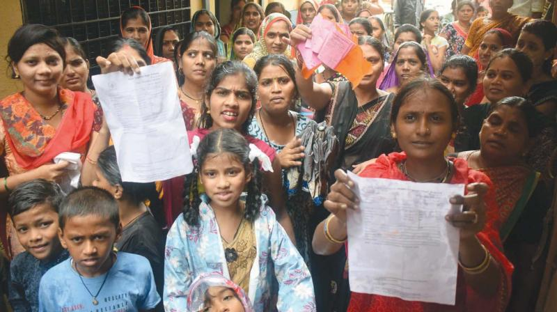Parents register their protest outside the school. (Photo: Deepak Kurkunde)
