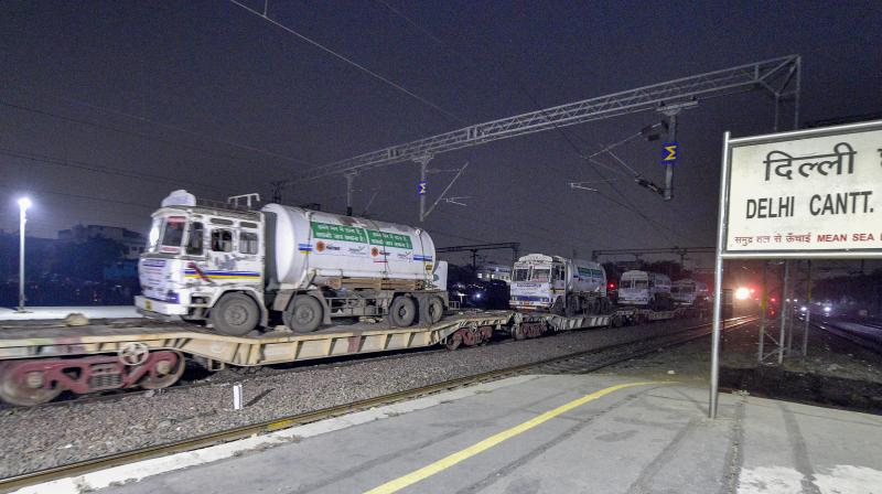The first Oxygen Express train for Delhi carrying around 70 tonnes of the life-saving gas reaches Delhi Cantt, Tuesday early morning, April 27, 2021. (PTI/Vijay Verma)