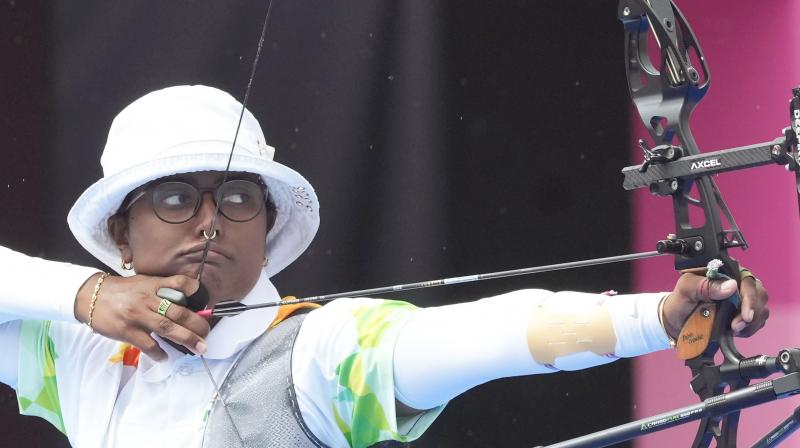 India's Deepika Kumari competes in the women's individual 1/8 eliminations round of the archery event, at the Summer Olympics 2020, in Tokyo. (Photo: PTI)