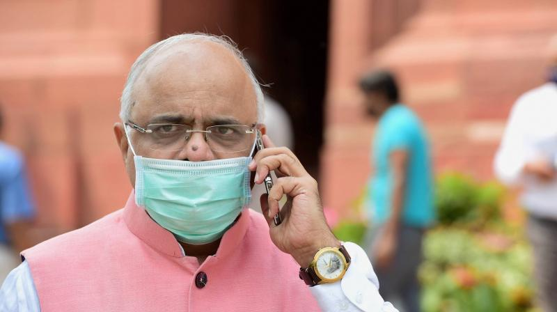 BJP MP Vinay Sahasrabuddhe at Parliament House during ongoing Monsoon Session, in New Delhi, Wednesday, Sept. 16, 2020. (PTI)