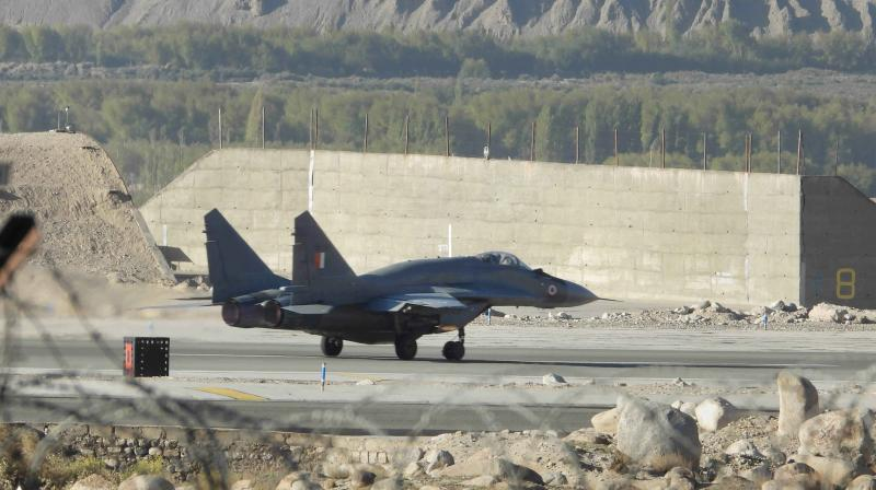 Indian Air Force fighter jet on the runway amid the prolonged India-China face-off, in Leh district, Wednesday. (PTI)