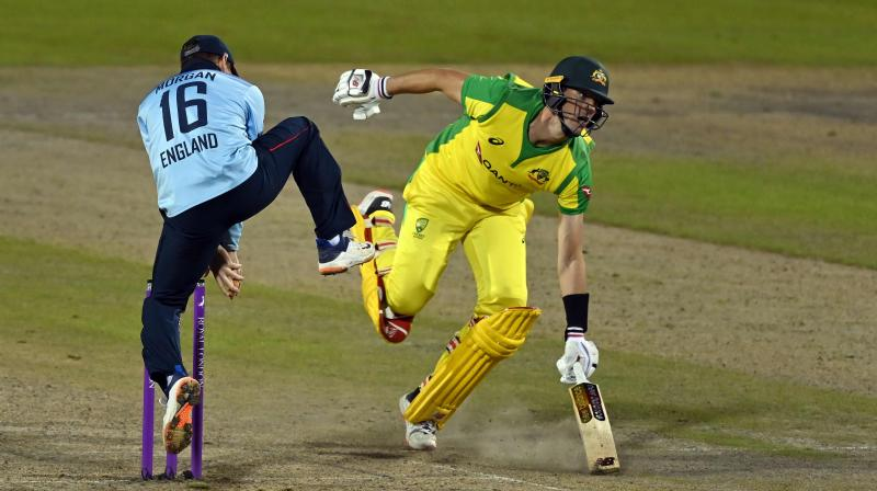 England and Australia players in action during the third ODI. (AFP)